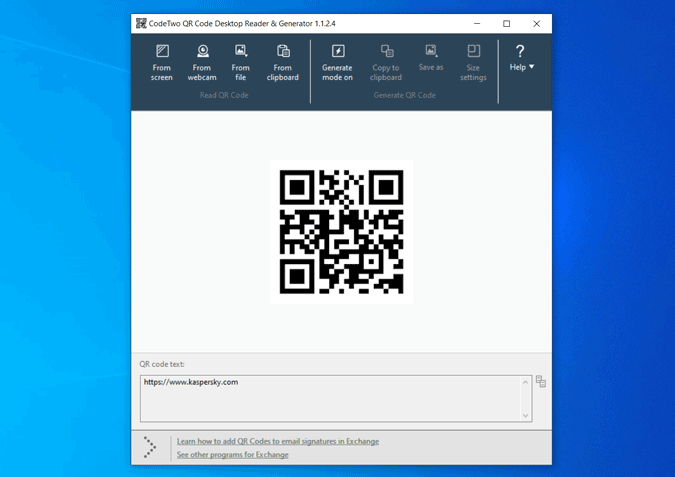 uploading image to scan QR Code with CodeTwo