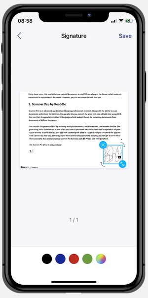 scanner app addding a signature