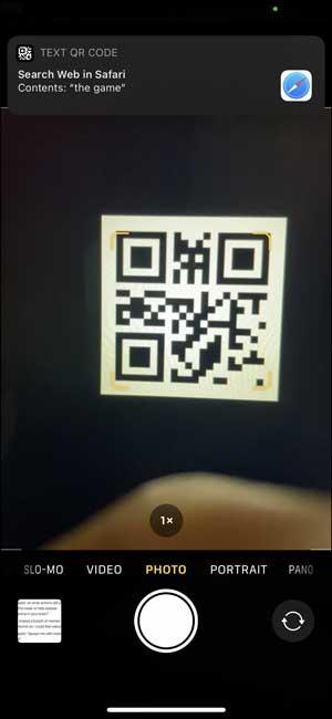 QR Code reader in iPhone camera app