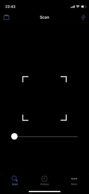 qr code reader with a zoom slider