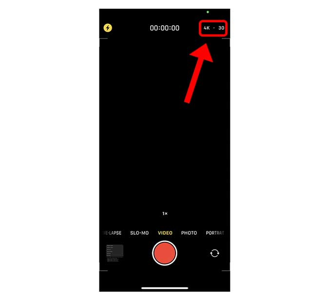 video resolution and frame rate button in camera app