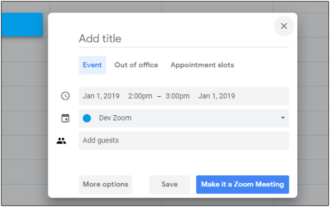 Zoom Scheduler Chrome extension by Zoom