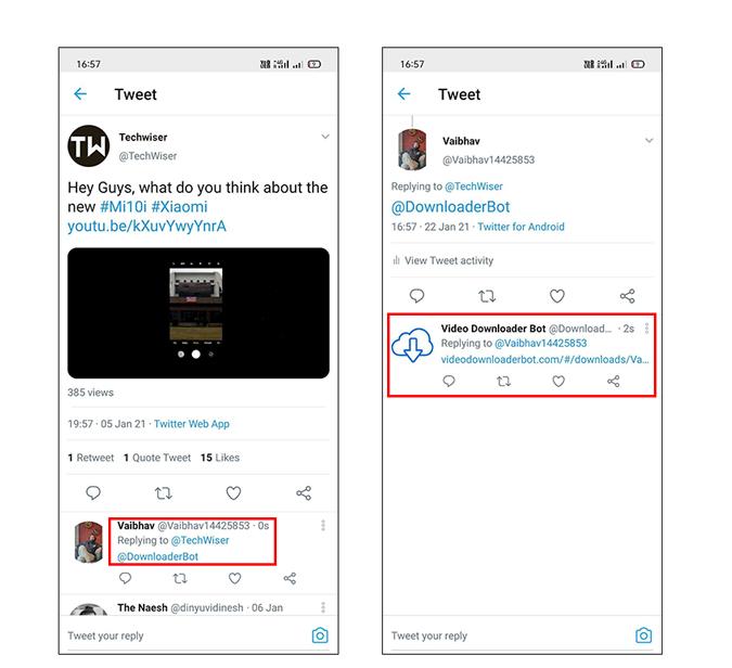 Share option for Downloader Bot