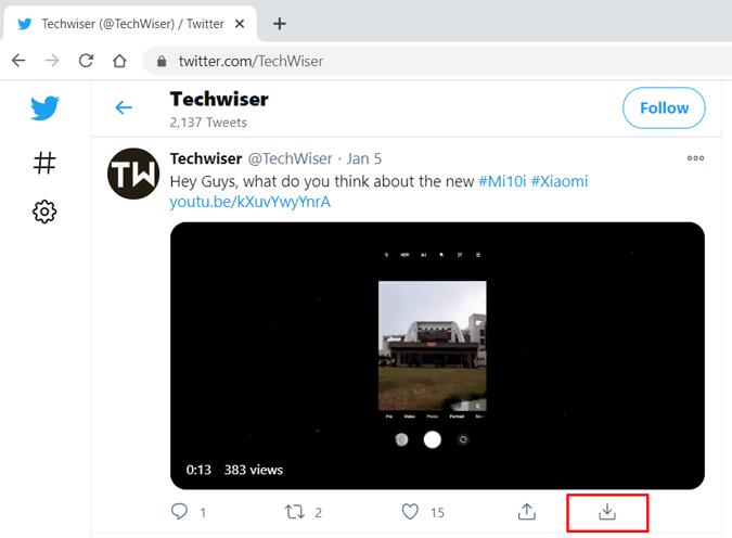 Twitter video downloader extension
