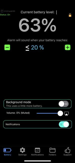 battery alarm to remind you about iPhone battery level