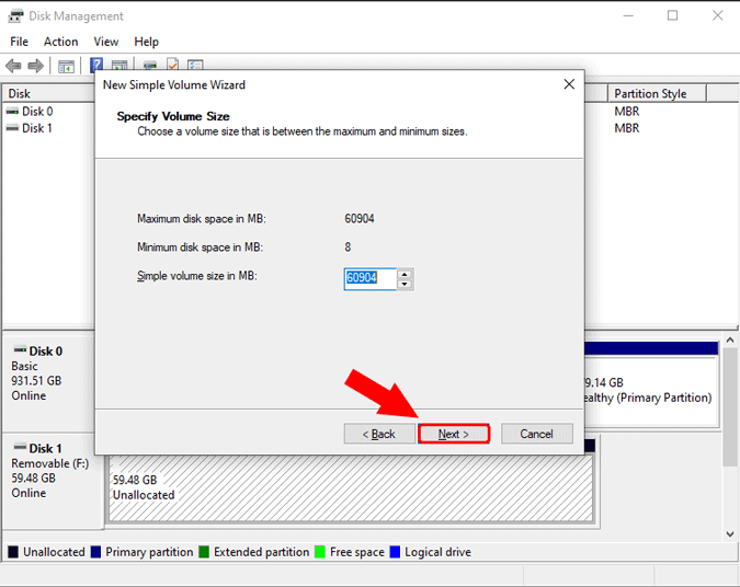 choose storage on new simple volume