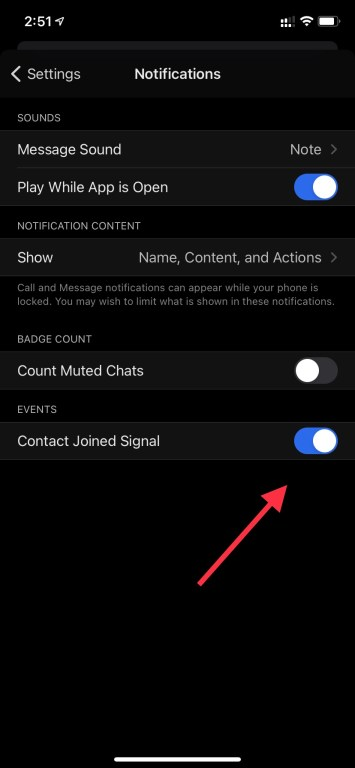 contact joined signal notification