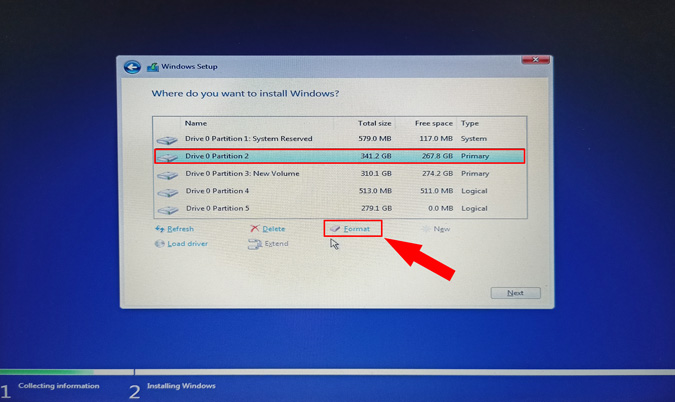 format ssd not detected on windows 10 installation