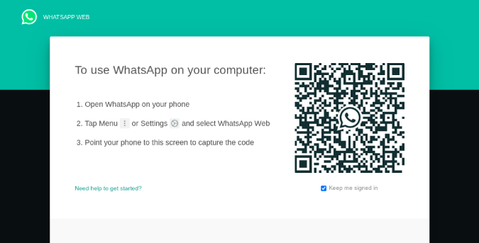 WhatsApp Web showing QR Code on the Desktop