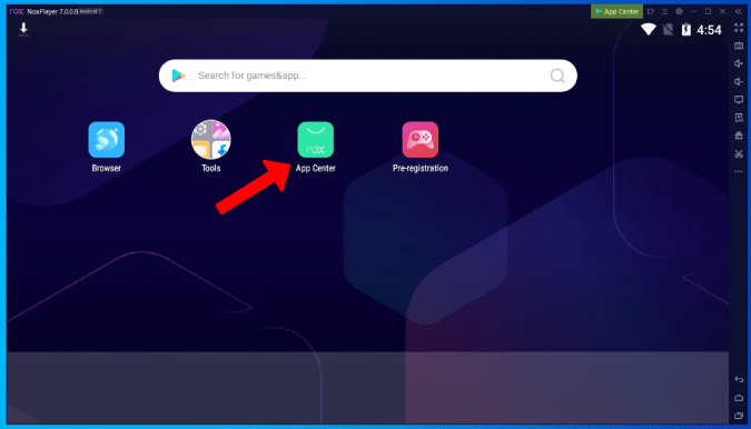opening the App center