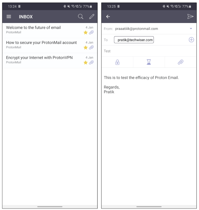 protonmail mailbox compose message on android