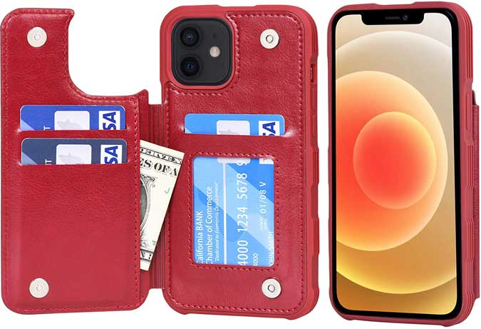 iphone 12 reverse wallet case in red