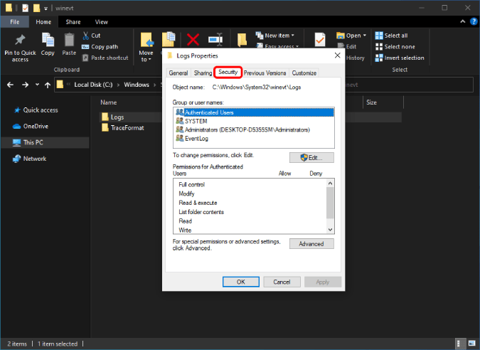 security tab of windows logs folder