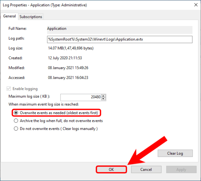 overwrite events in windows logs
