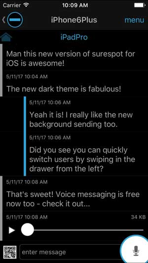 surespot app chat window with snapchat style layout