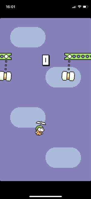 swing copter game with retro graphics