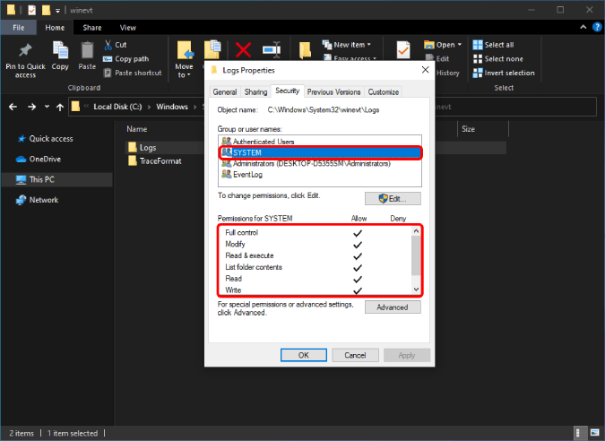 permissions for system profile in security tab