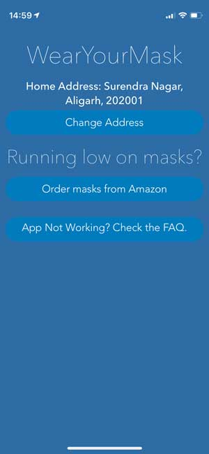 wear your mask- reminder on iphone about mask when leaving home