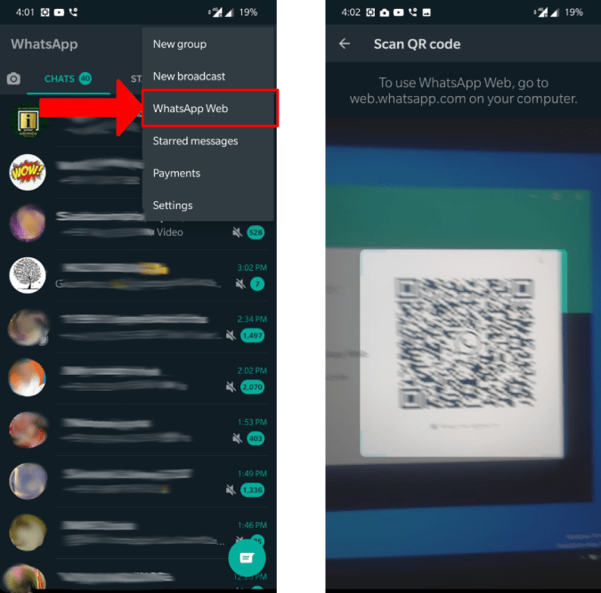 Scanning QR Code on the WhatsApp Desktop App