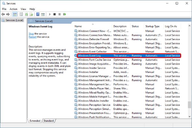 windows event log on windows services menu