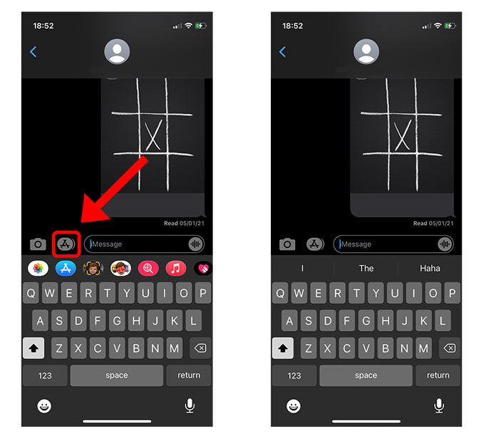 app drawer hide button in iMessage