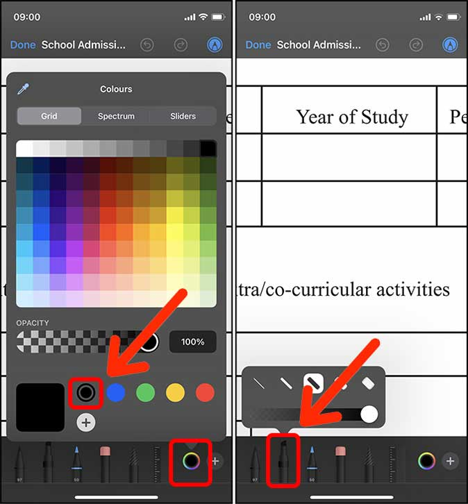 highlighter color in pdf on iphone