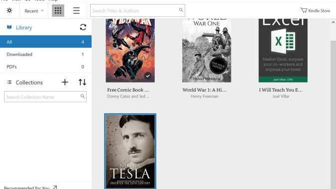 Kindle app book library