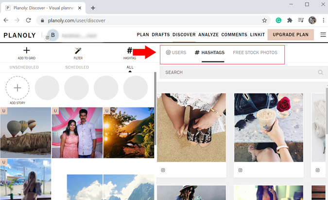 Planoly's Discover Tab