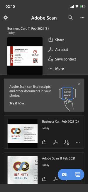 Adobe Scan, easy way to scan cards