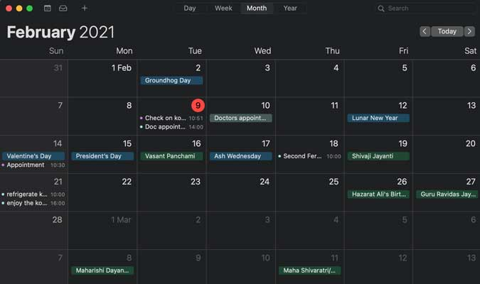 Apple Calendar app on Mac