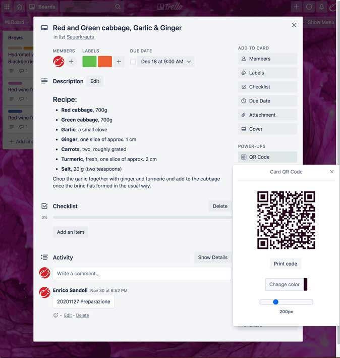 create a QR code of the active card in Trello