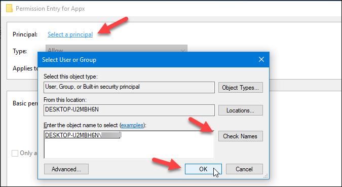 principal settings of registry key in windows 10