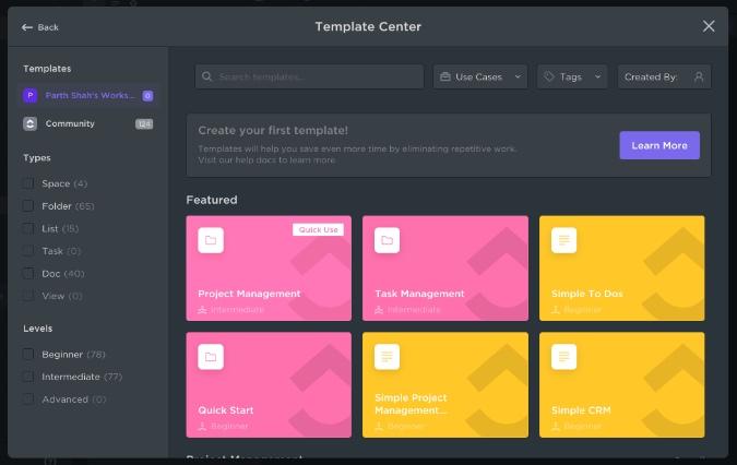 clickup templates