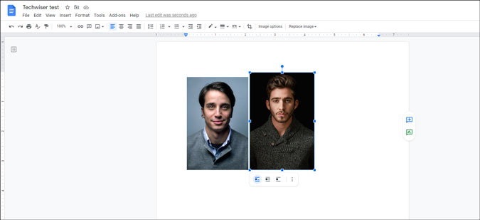 set images side by side in google docs