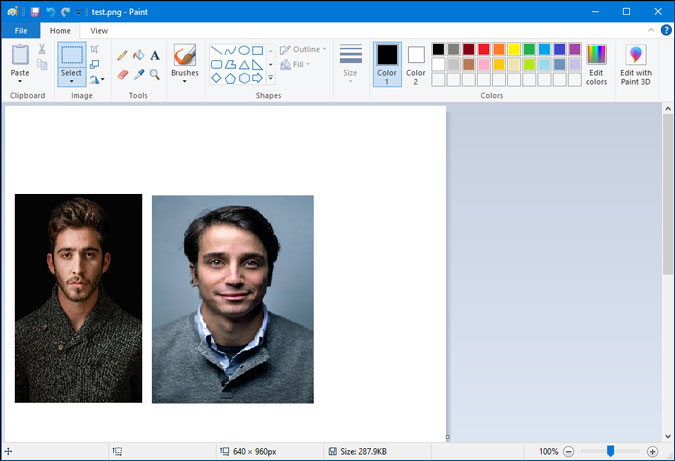 change placement of images in paint for windows 10