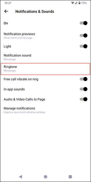messenger ringtone selection android