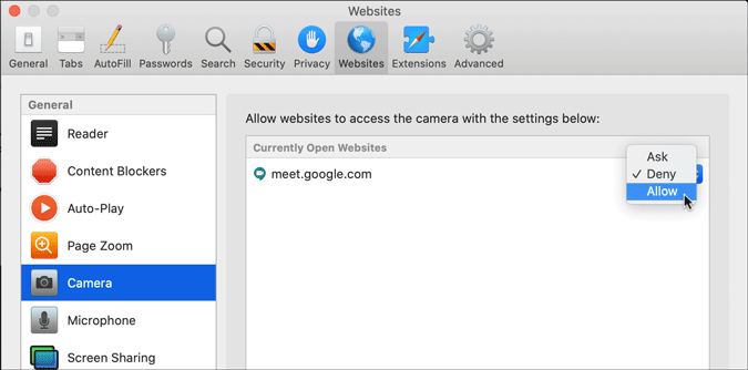 allow specific site to use camera in apple safari