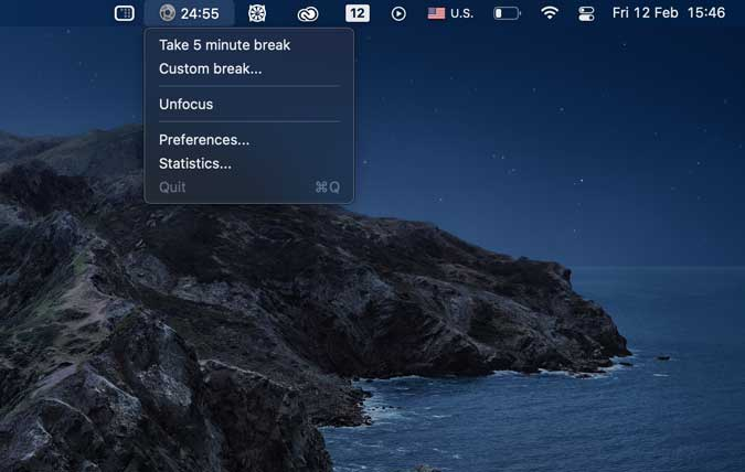 heyfocus- focus app for mac that runs in menubar