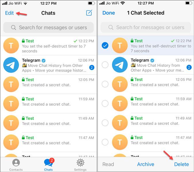 delete secret chat in telegram for ios