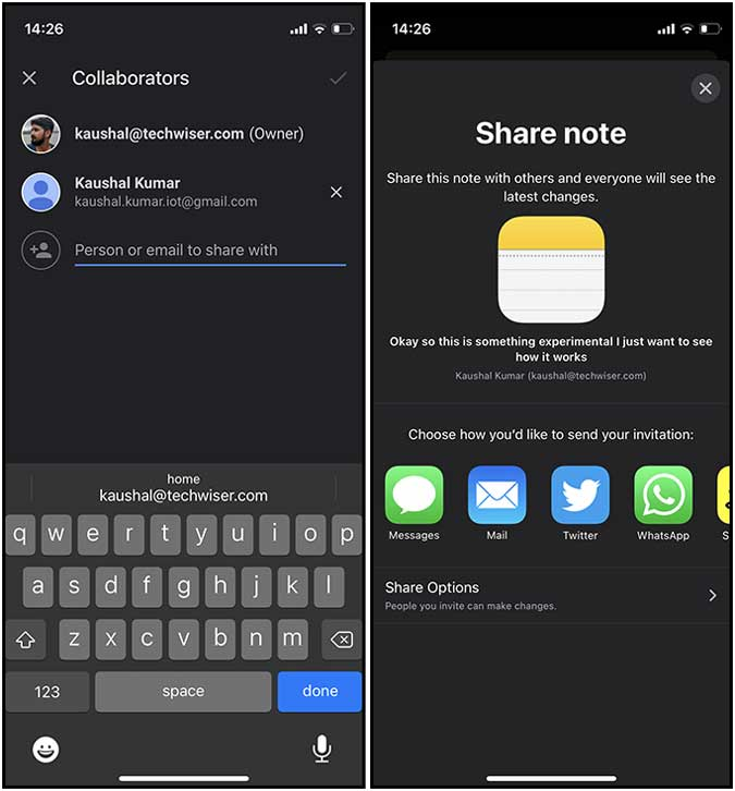 collaboration features: Google Keep vs Apple Notes