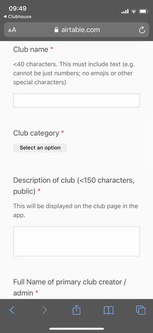 apply for a club on clubhouse