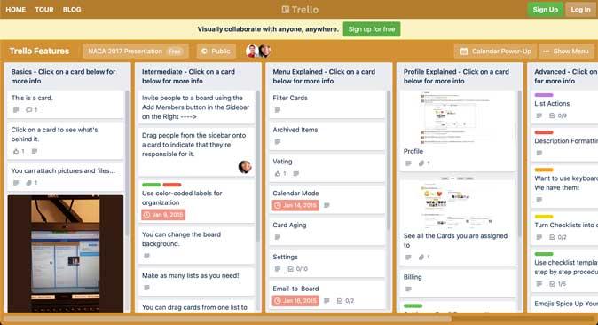 trello board user interface