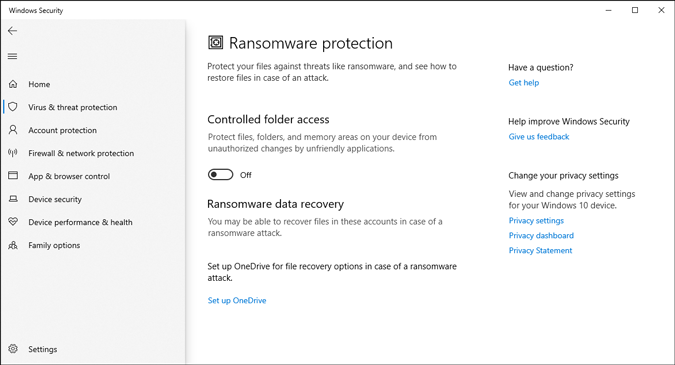 ransomware protection settings in microsoft defender in windows 10