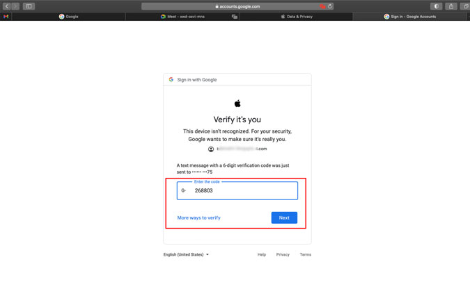 Google's two factor authentication sign in