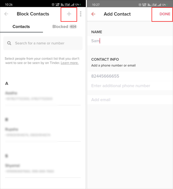 Manually add contacts on Tinder