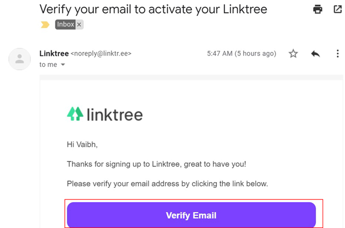 Email Verification for Linktree