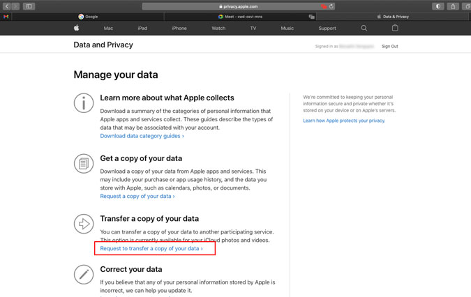 Apple's Request to transfer a copy of your data option