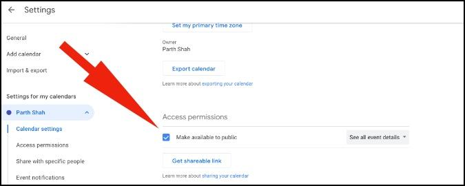 make google calendar available public setting
