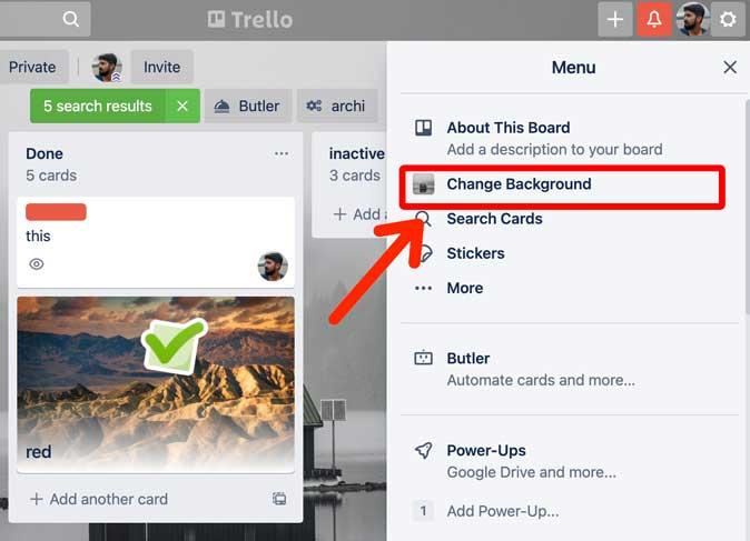 change background button in a Trello board