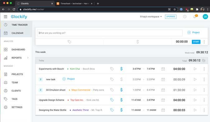 clockify interface on web